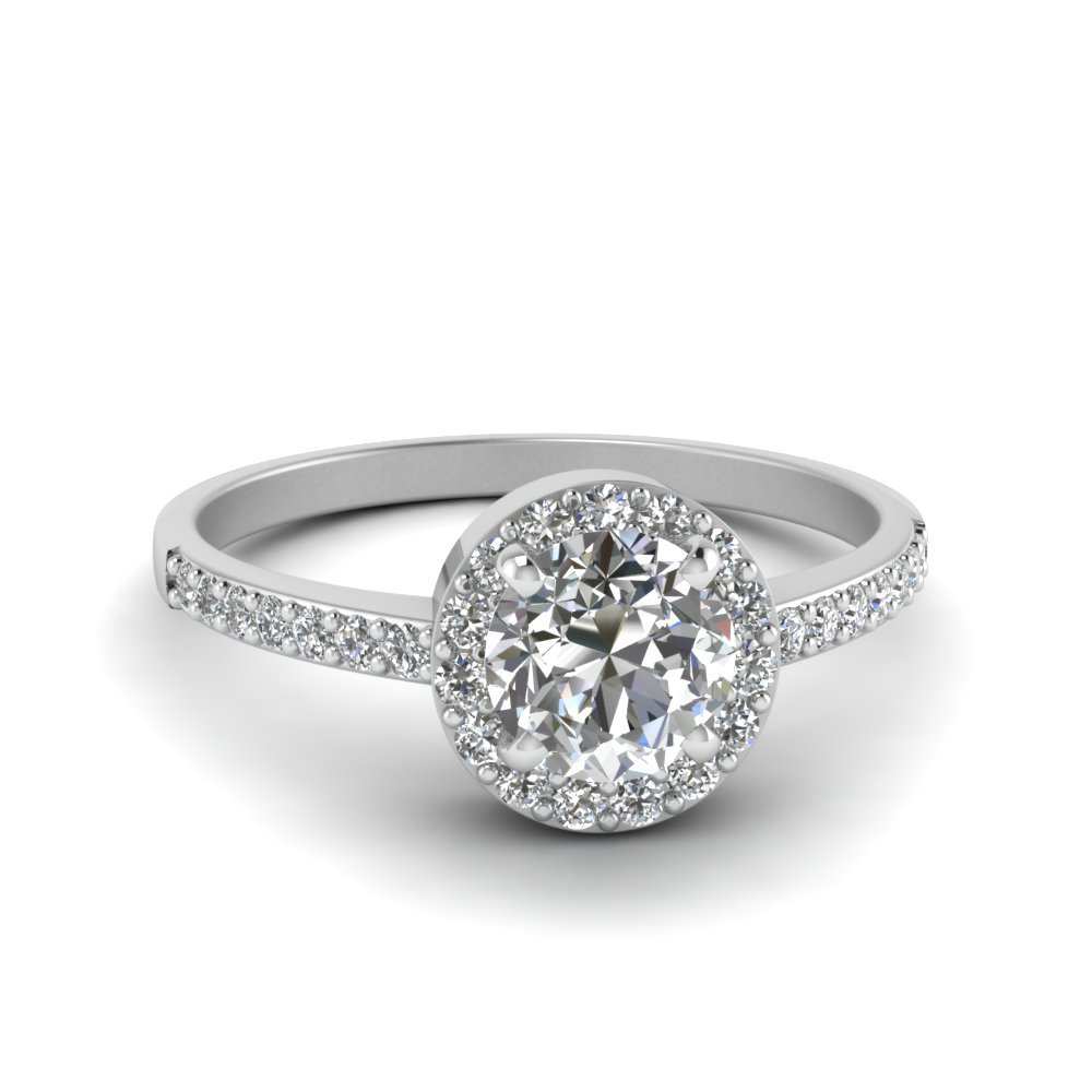 Delicate Halo Diamond Engagement Ring