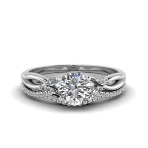 Round Cut Delicate Petal Diamond Accent Bridal Set In 14K White Gold