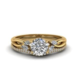 Round Cut Delicate Petal Diamond Accent Bridal Set In 14K Yellow Gold
