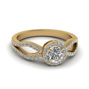 Halo Split Diamond Engagement Ring