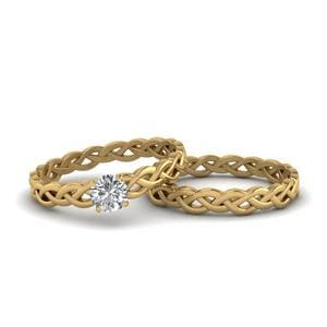 Round Cut Diamond Braided Solitaire Bridal Set In 18K Yellow Gold