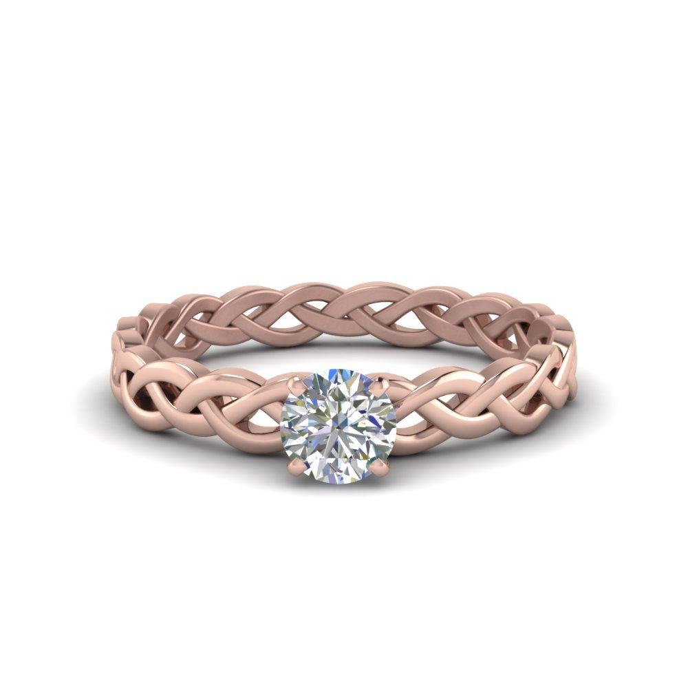 Round Cut Braided Solitaire Ring