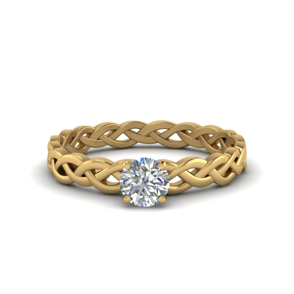 Braided Solitaire Round Cut Ring