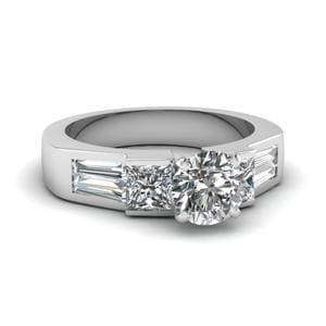Art Deco Round Diamond Engagement Ring In 14K White Gold