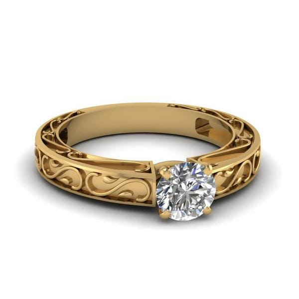 Carved Round Diamond Filigree Ring