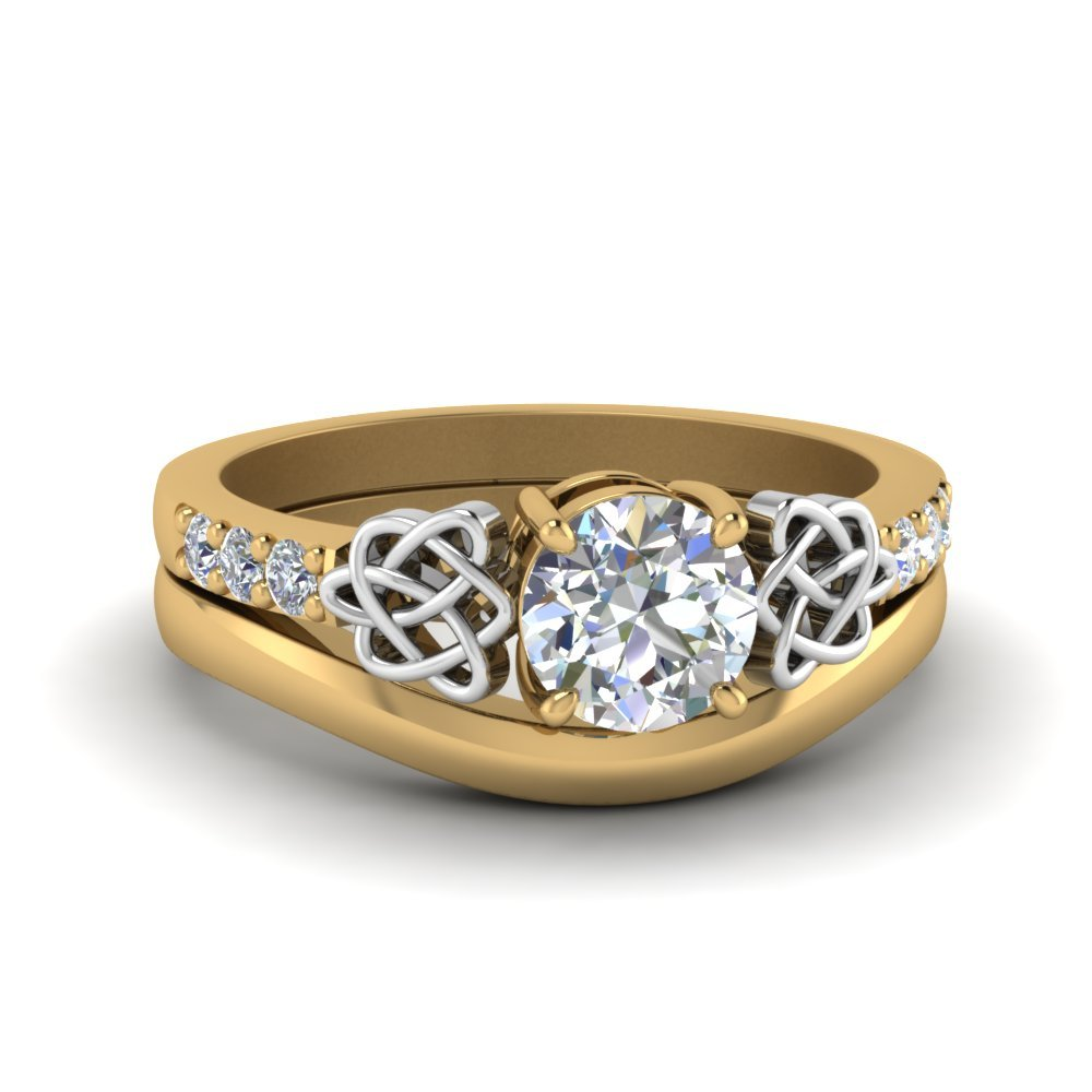 Round Cut Diamond Celtic Wedding Set In 14K Yellow Gold
