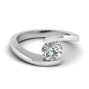 14K White Gold Simple Diamond Ring