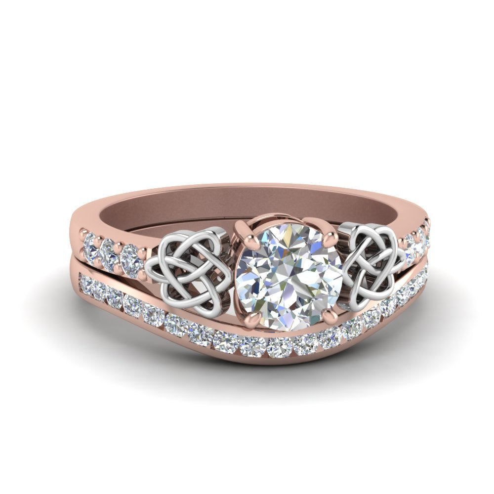 Round Cut Diamond Channel Band Celtic Bridal Set In 14K Rose Gold