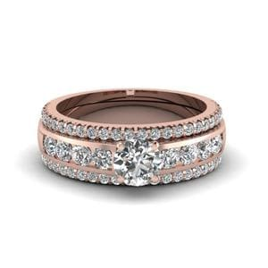Round Diamond Bridal Trio Set