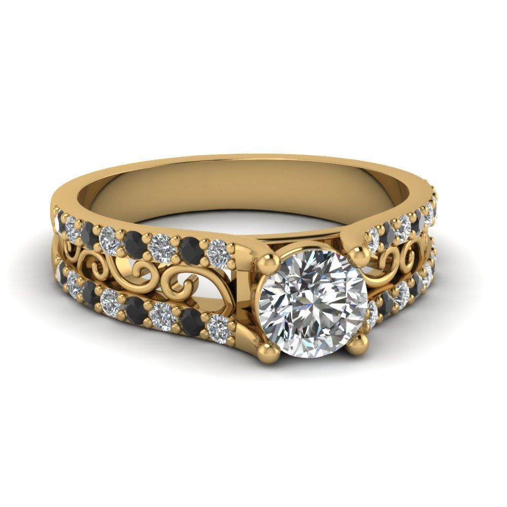 Round Cut Diamond Charm Filigree Vintage Engagement Ring With Black Diamond In 18K Yellow Gold