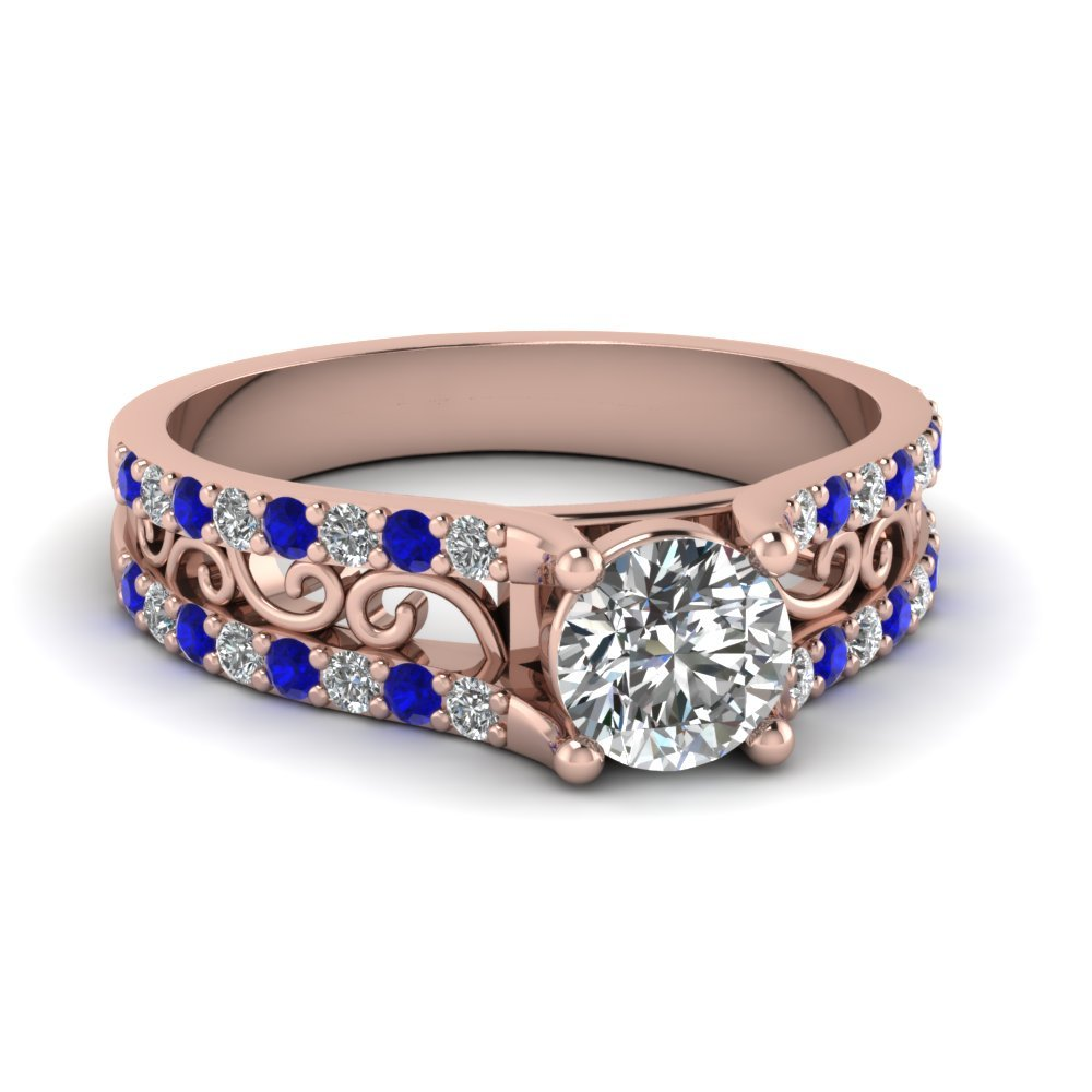 Round Cut Diamond Charm Filigree Vintage Engagement Ring With Blue Sapphire In 14K Rose Gold