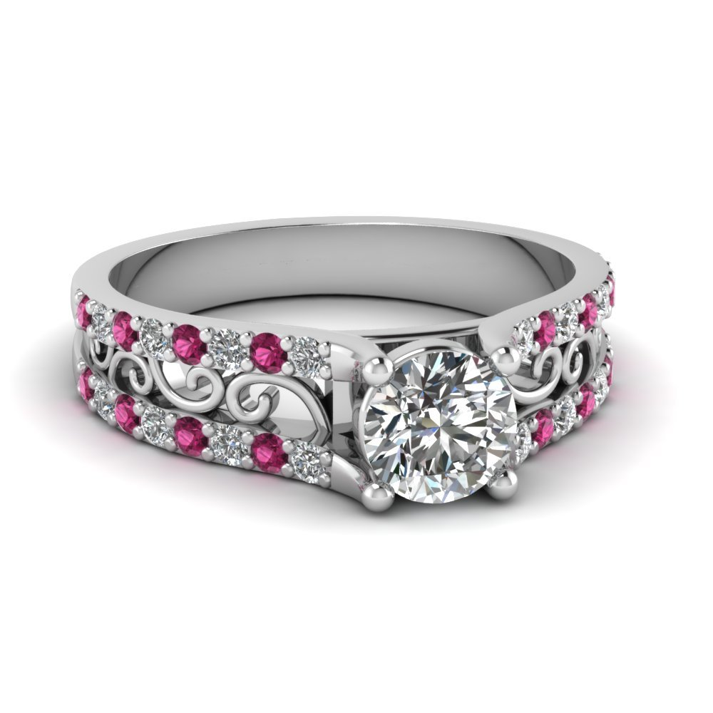 Round Cut Diamond Charm Filigree Vintage Engagement Ring With Dark Pink Sapphire In 14K White Gold