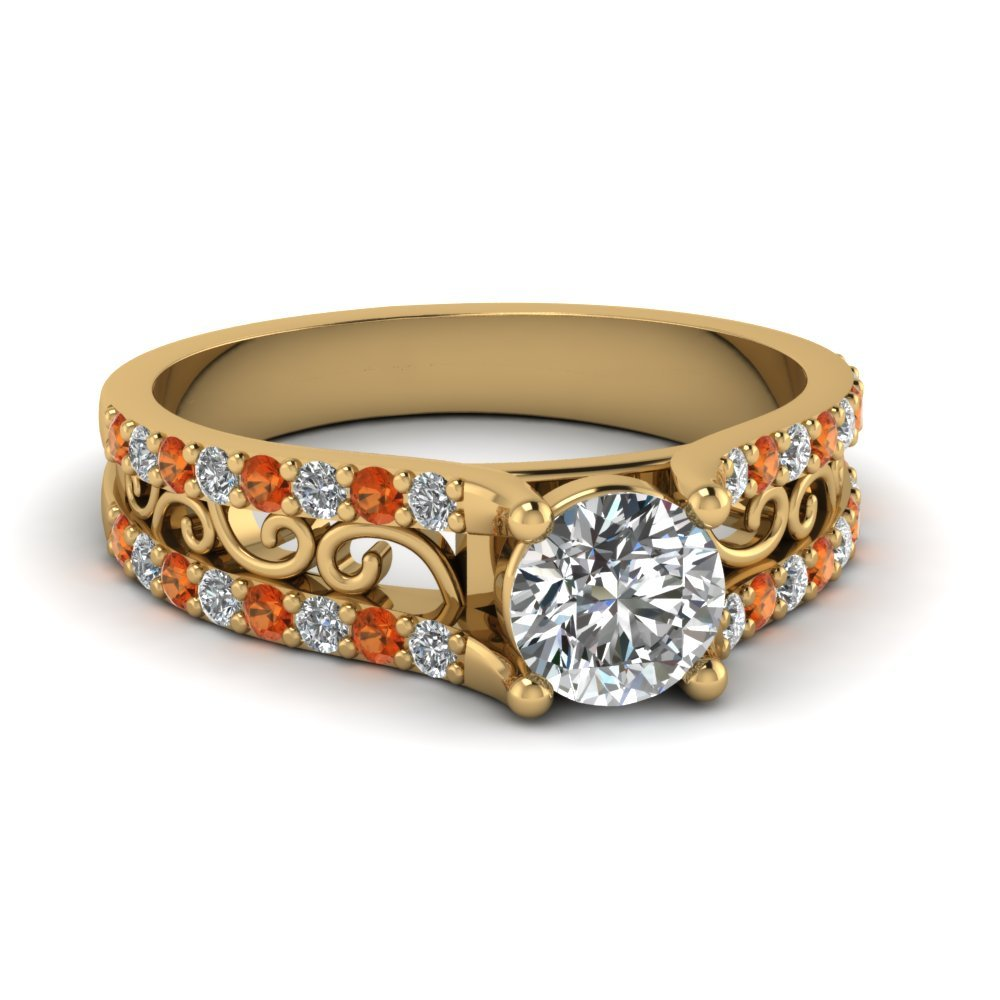 Round Cut Diamond Charm Filigree Vintage Engagement Ring With Orange Sapphire In 14K Yellow Gold