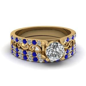 Filigree Round Diamond Wedding Set With Sapphire