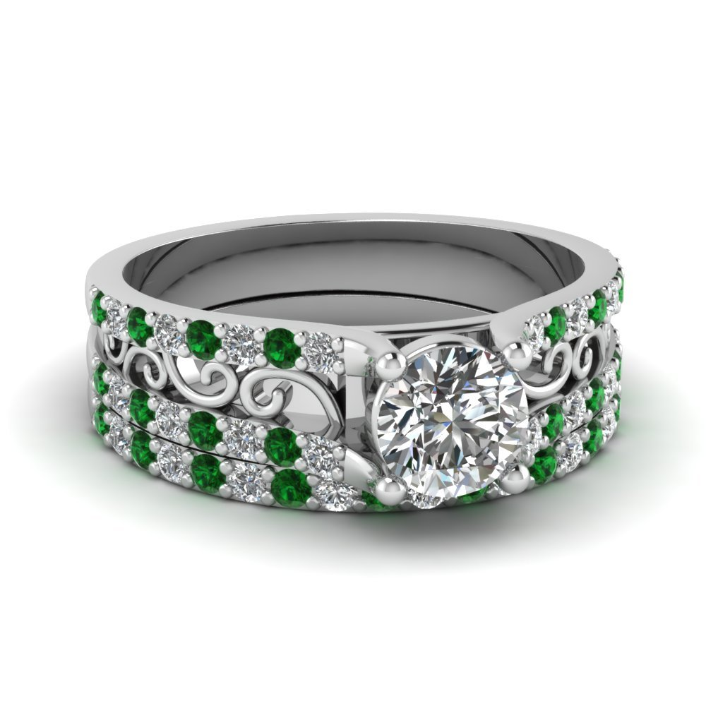 Round Cut Diamond Charm Filigree Wedding Set With Green Emerald In 18K White Gold