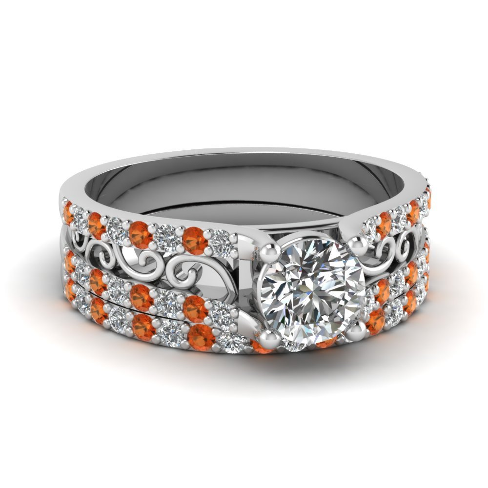 Round Cut Diamond Charm Filigree Wedding Set With Orange Sapphire In 14K White Gold