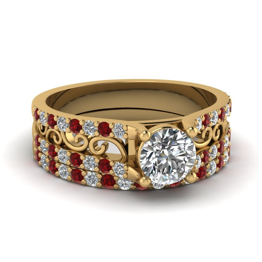 Round Cut Diamond Charm Filigree Wedding Set With Red Ruby In 14K Yellow Gold