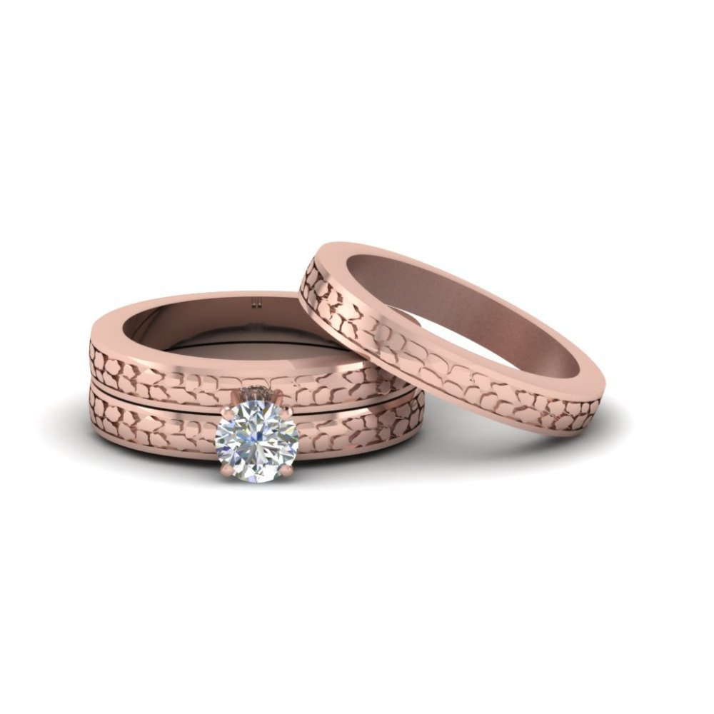 Round Cut Diamond Cheap Trio Wedding Ring Sets For Couples In 14K Rose Gold
