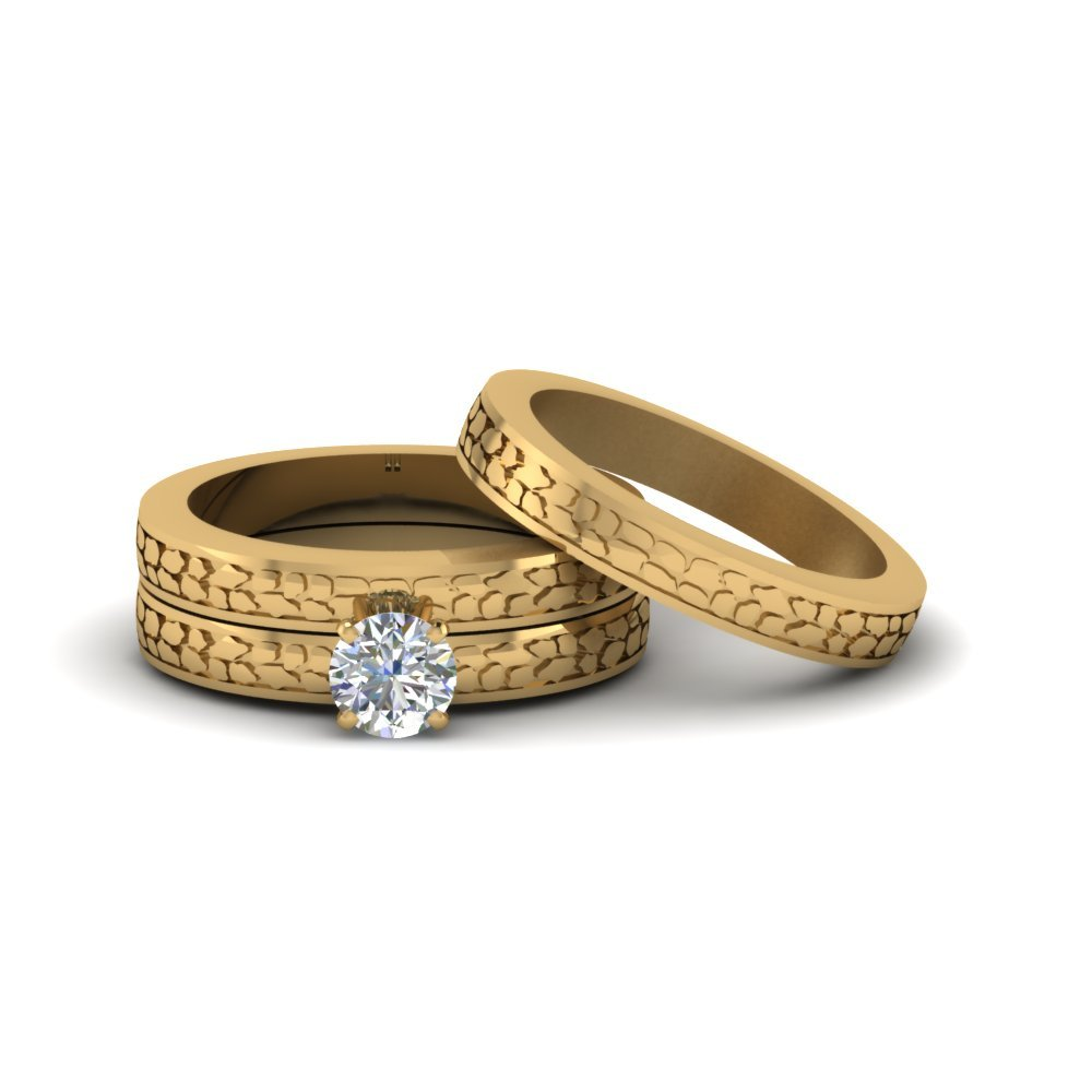 Trio Wedding Ring Sets In 18K Yellow Gold