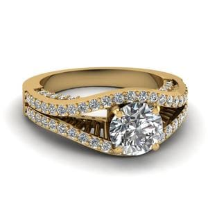 Contemporary Split Gold Diamond Ring