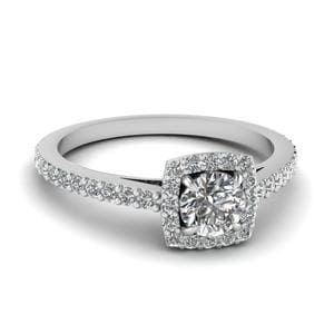 Square Halo Diamond Petite Engagement Ring In 14K White Gold