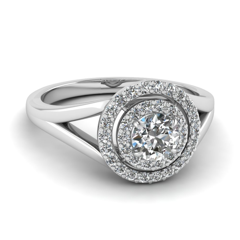 Double Halo Split Shank Diamond Engagement Ring In 18K White Gold