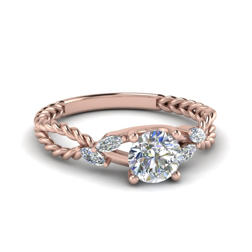 Braided Round Cut Diamond Ring