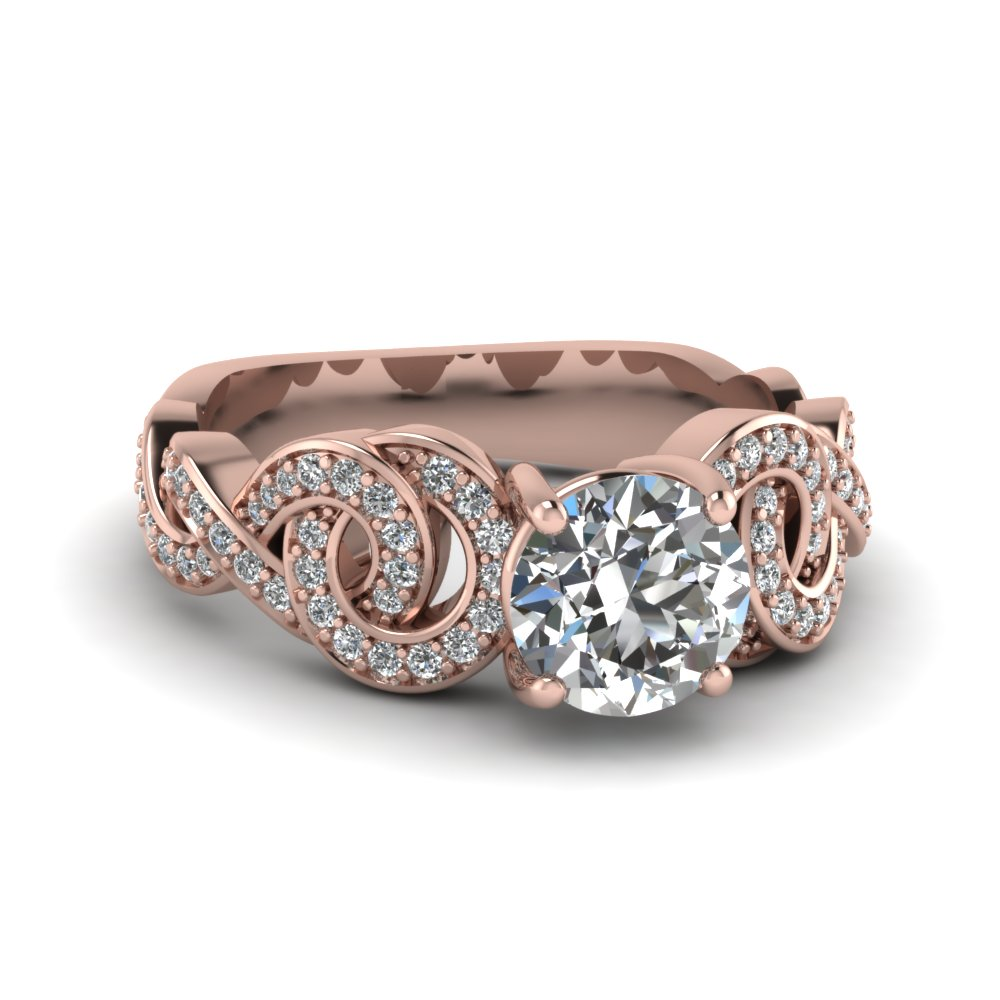 Intertwined Round Diamond Ring
