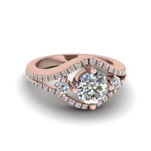 Round Cut Diamond Engagement Ring In 14K Rose Gold