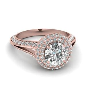 Micropave Halo Split Shank Diamond Engagement Ring In 14K Rose Gold
