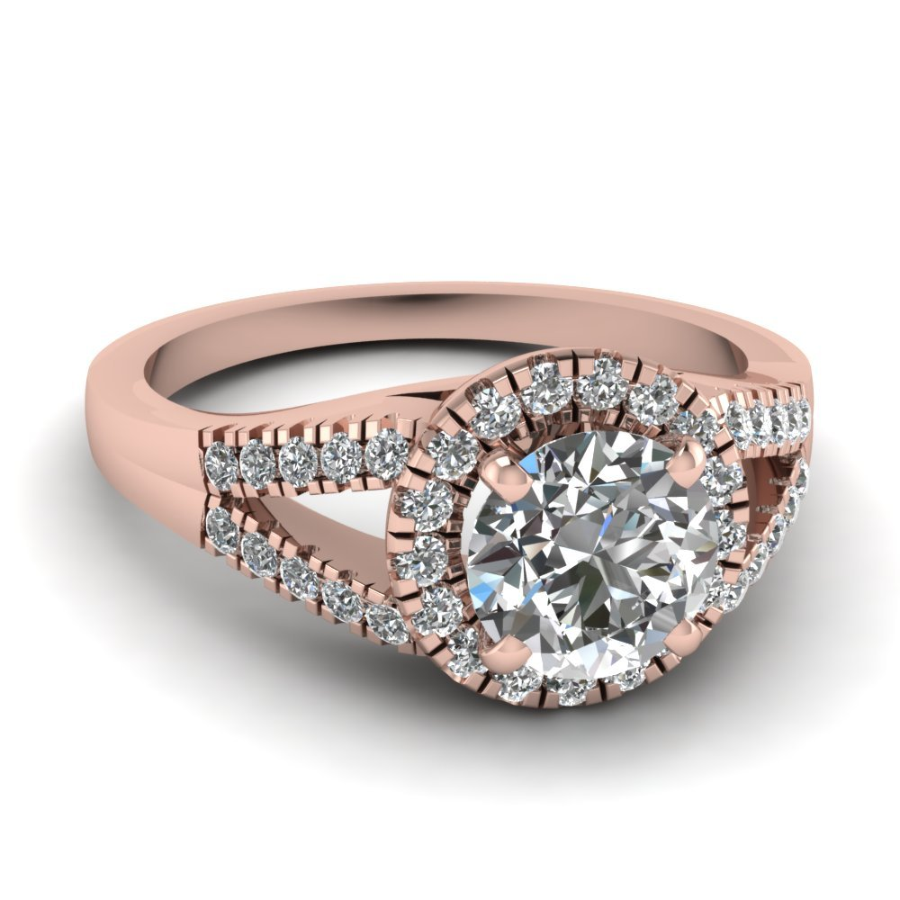 U Prong Halo Diamond Engagement Ring In 14K Rose Gold