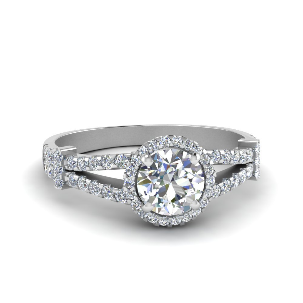 Halo Pave Split Shank Diamond Engagement Ring In 14K White Gold