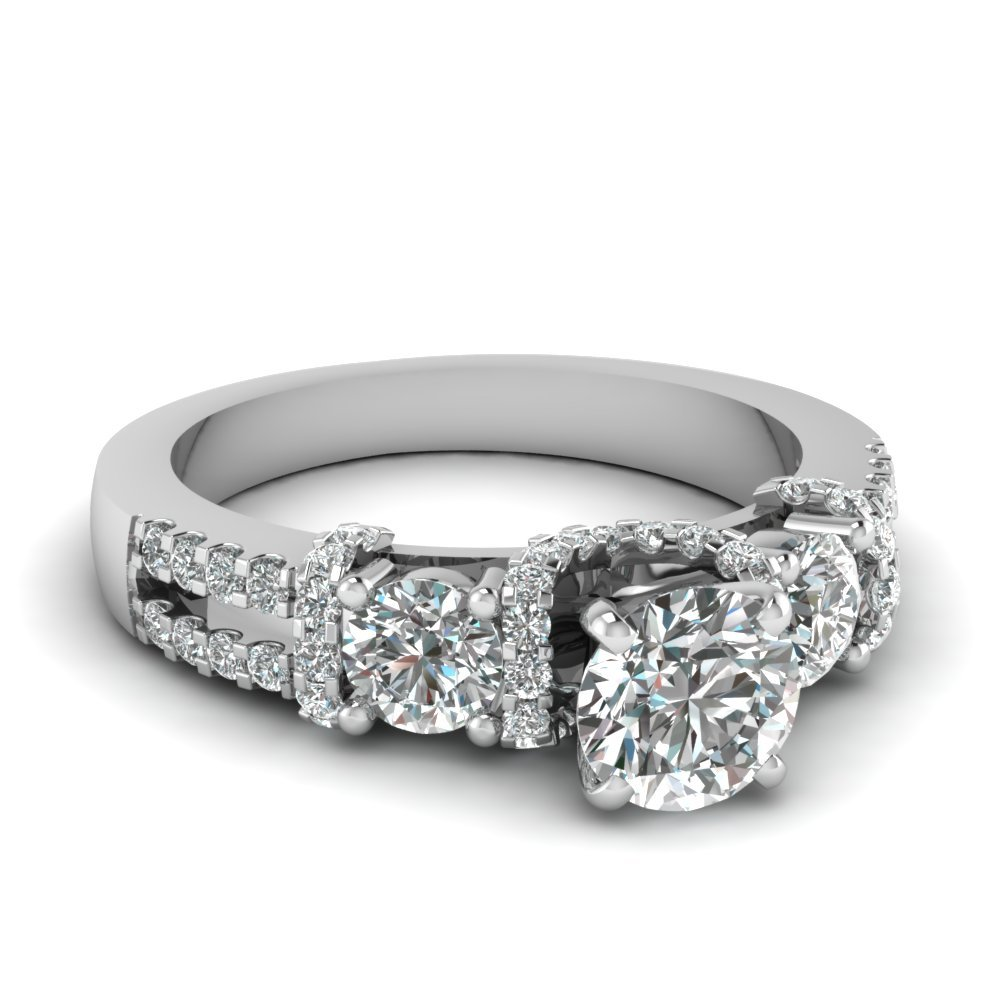 Micropave Diamond Accented U prong Ring