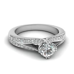 Pave Split Shank Round Cut Diamond Ring In 14K White Gold