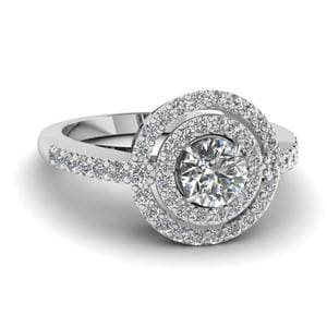 Delicate Double Halo Diamond Engagement Ring In 14K White Gold