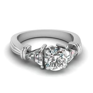 Trillion 3 Stone Round Diamond Engagement Ring In 14K White Gold