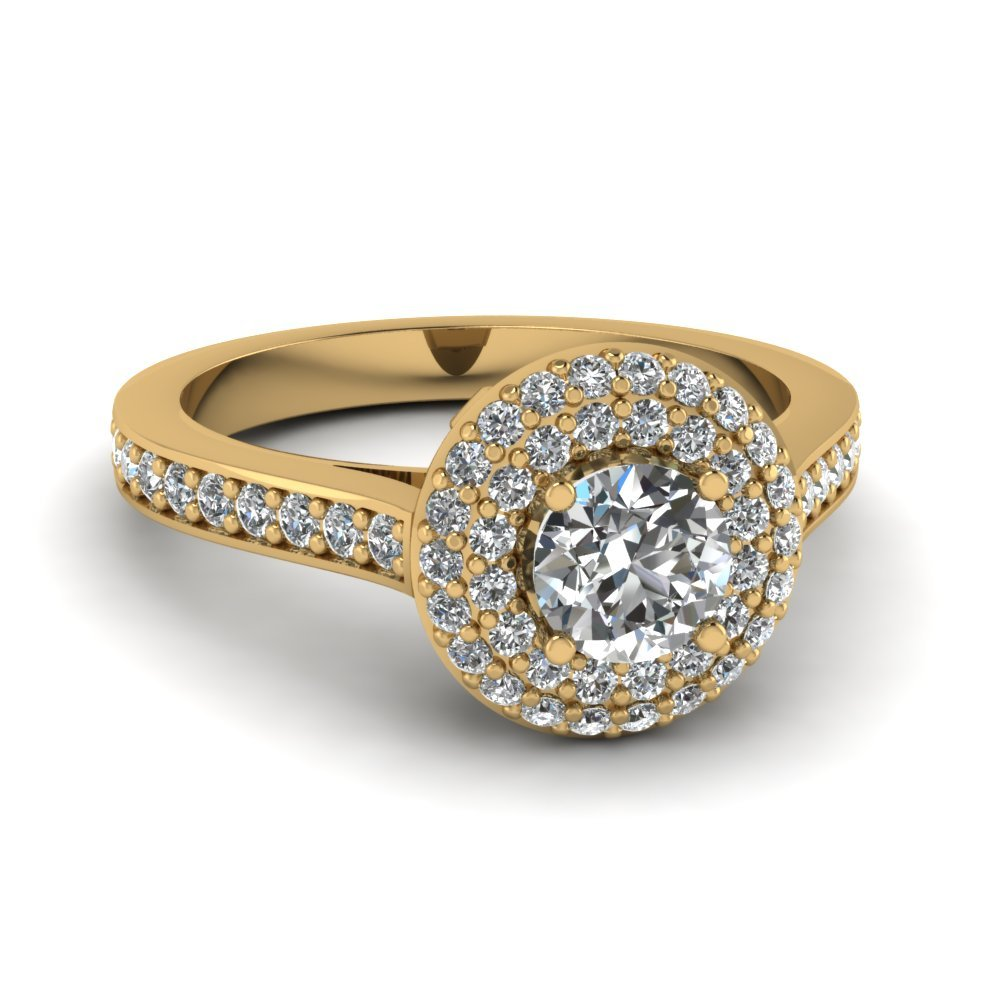 Round Cut Diamond Engagement Ring In 14K Yellow Gold