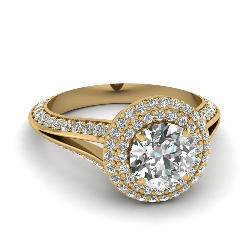 Pave Split Shank Diamond Ring