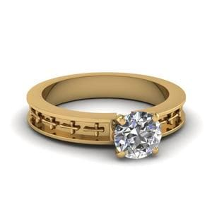 Cross Engraved Round Cut Solitaire Engagement Ring In 14K Yellow Gold