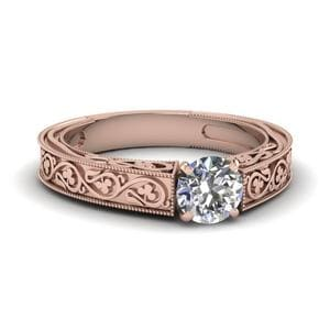 Vintage Round Solitaire Diamond Ring In 18K Rose Gold