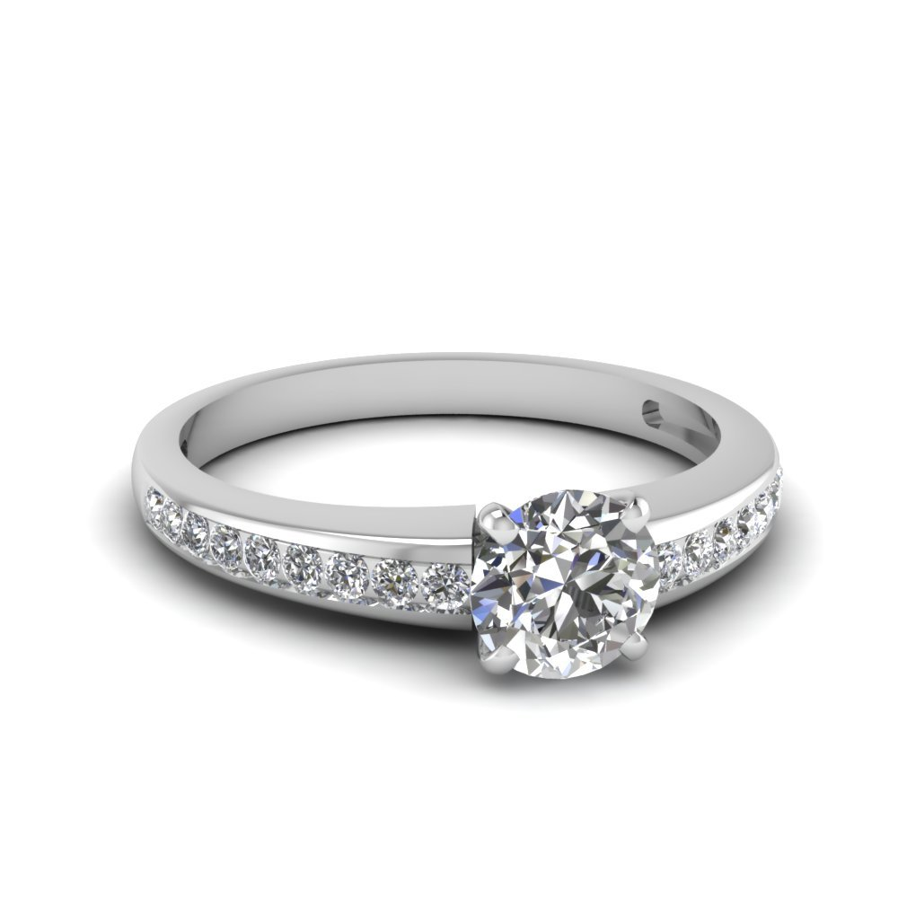 Round Channel Diamond Engagement Ring