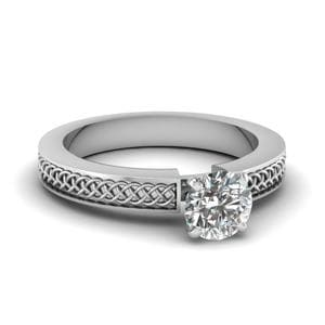 Weaved Design Round Cut Solitaire Engagement Ring In 18K White Gold