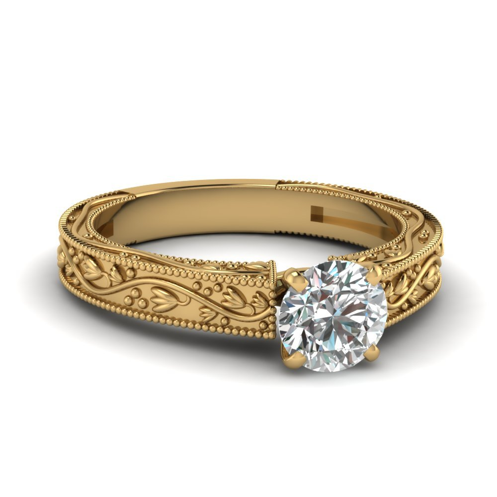 Floral Engraved Round Cut Diamond Solitaire Engagement Ring In 18K Yellow Gold