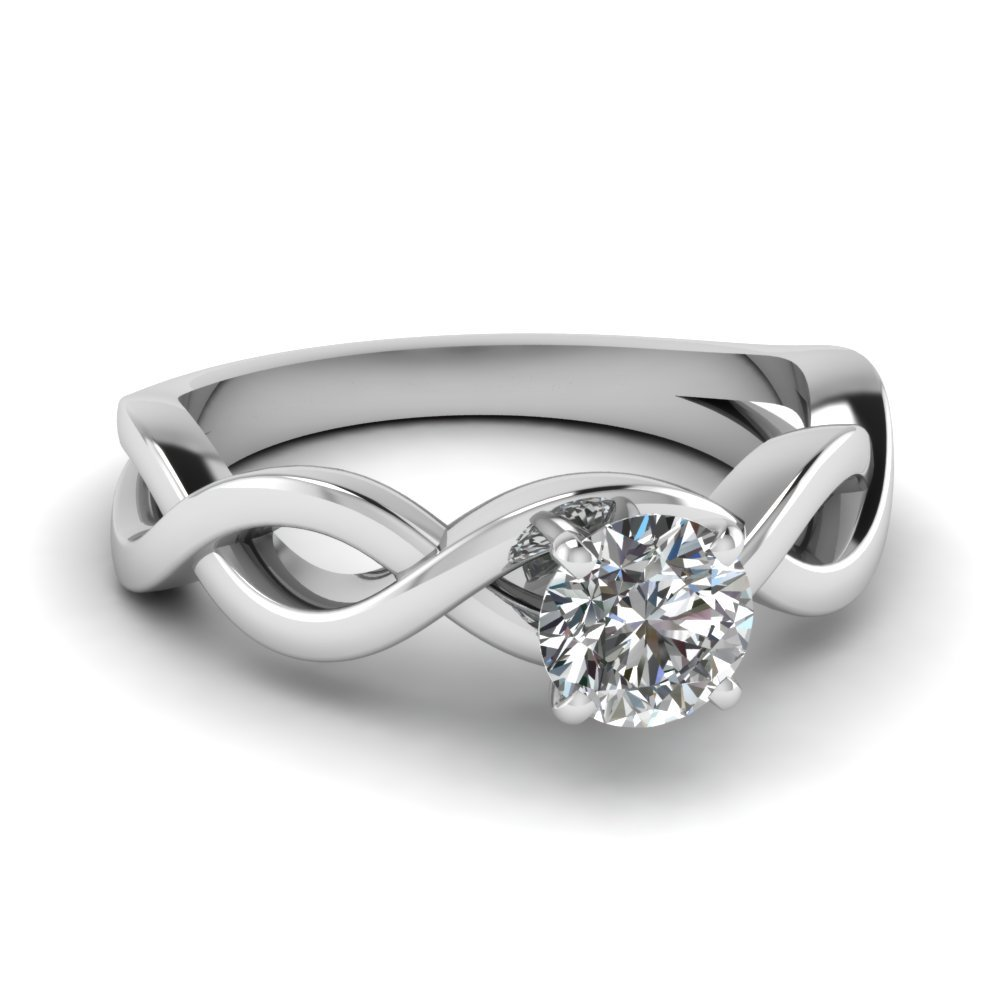 Infinity Round Diamond Solitaire Engagement Ring In 950 Platinum