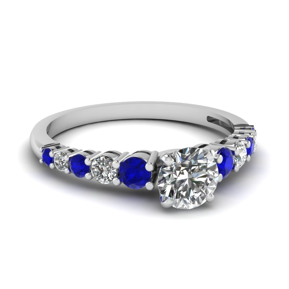 Graduated Round Diamond Ring With Sapphire In 14K White Gold