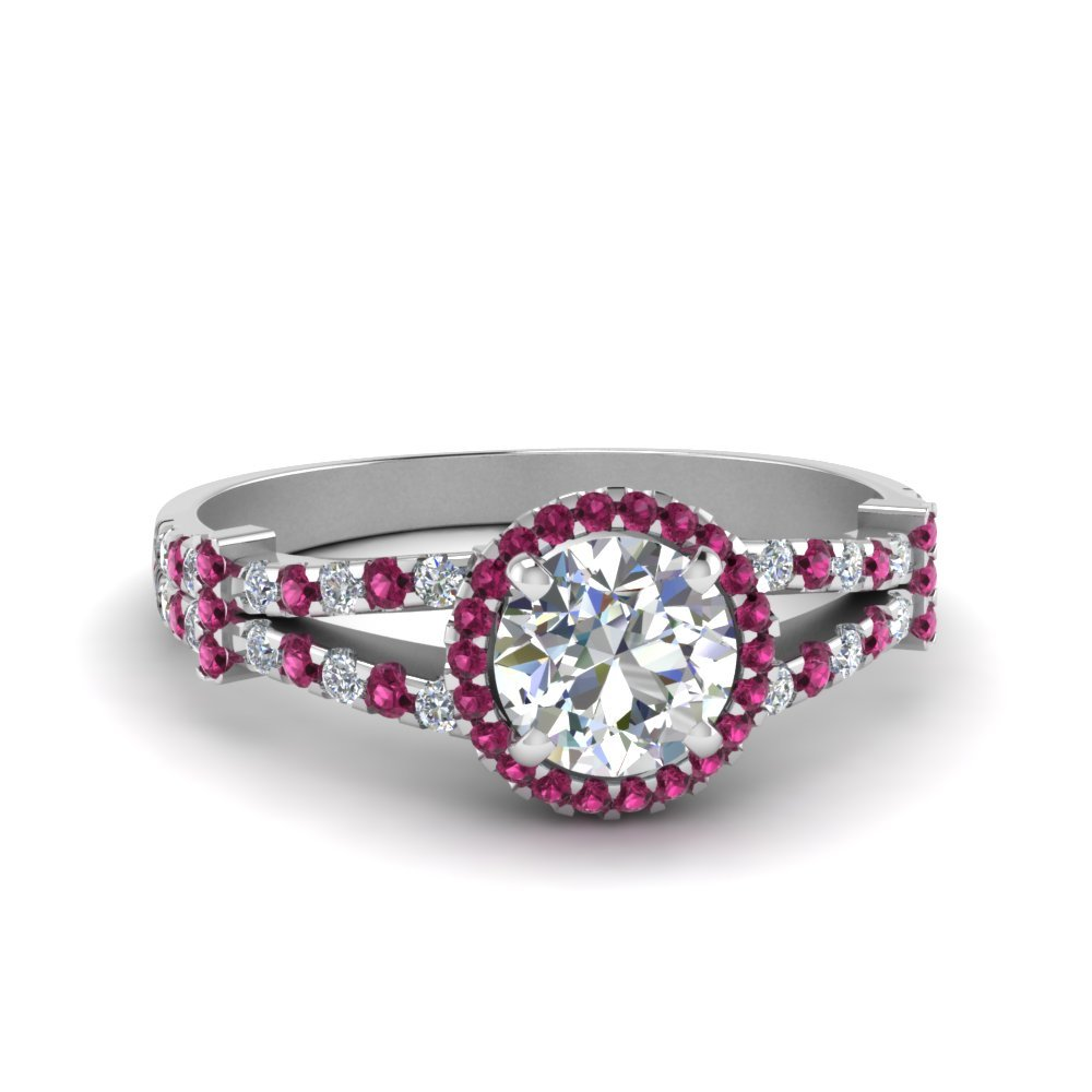 Halo Pave Split Shank Diamond Engagement Ring With Pink Sapphire In 14K White Gold