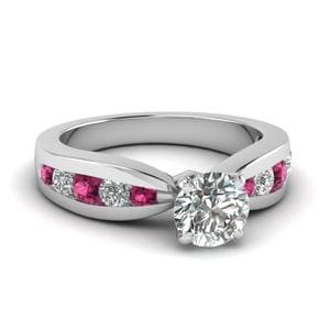 Tapered Channel Set Round Diamond Engagement Ring With Pink Sapphire In 14K White Gold
