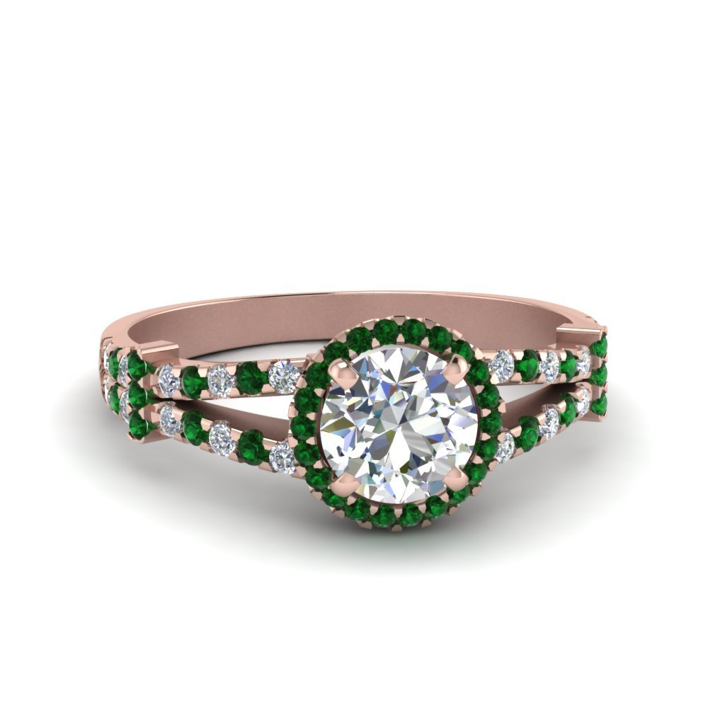 Halo Pave Split Shank Diamond Engagement Ring With Emerald In 18K Rose Gold