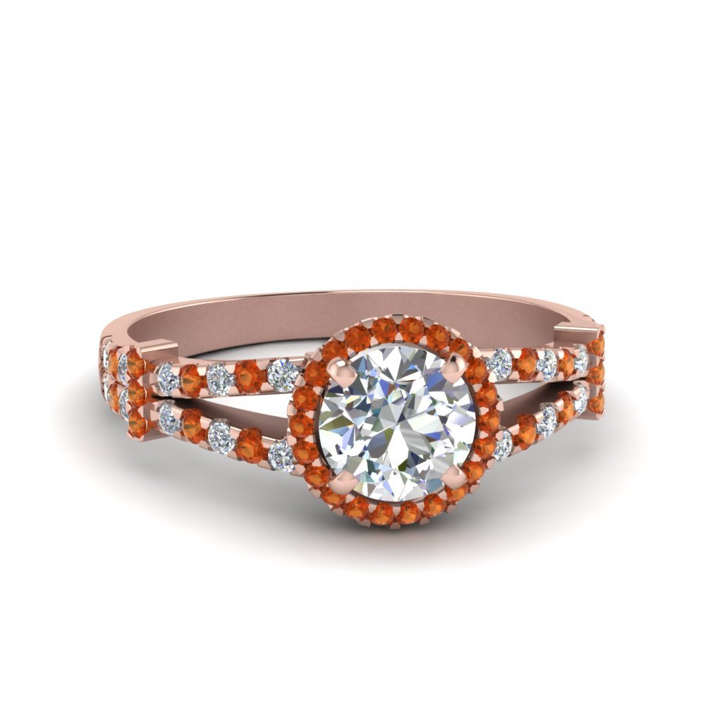 Halo Pave Split Shank Diamond Engagement Ring With Orange Sapphire In 14K Rose Gold