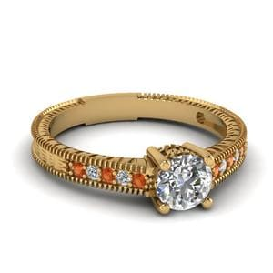 Vintage Engraved Diamond Engagement Ring With Orange Sapphire In 14K Yellow Gold